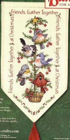 Friends gather together at Christmas cross stitch Xmas Cross Stitch, Cross Stitch Flowers, Cross Stitch Charts, Counted Cross Stitch Patterns, Cross Stitch Designs, Cross Stitching, Cross Stitch Embroidery, Cross Stitch Numbers, Theme Noel