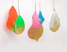 """Neon decoration chandelier ornaments for your Christmas tree or wall - set of five. €15.00, via Etsy. Love the retro shapes. Looks like """"I did it myself"""". Deceptively simple design rocks my socks. Great design is 99% unnoticed!"""