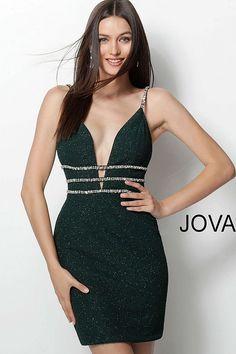 9e6b6c9afce Emerald spaghetti strap bodycon Homecoming dress by Jovani  Homecoming   shortdress Christmas Dance Dresses