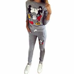 69b07994a35b3 Autumn Women Casual Sportswear Lovely Mickey Printed Hoodies Women  Tracksuit Two Pieces Set Long-sleeved
