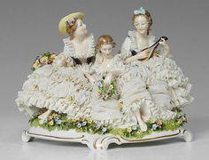 Dresden or Volkstedt porcelain figurine