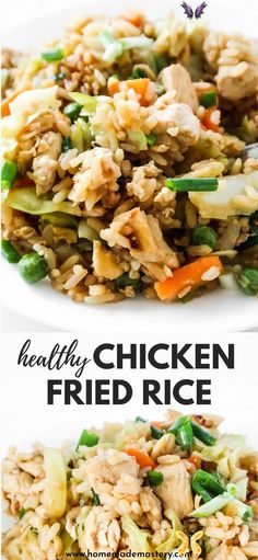 20-Minute Healthy Chicken Fried Rice Recipe - Homemade Mastery Easy chicken fried rice - easy dinner recipe that you'll want to eat the entire week and you can! This meal is also great meal prep recipe (makes 3-4 servings and keeps well in the fridge!).<br> Healthy Rice Recipes, White Rice Recipes, Rice Recipes For Dinner, Clean Eating Dinner Recipes, Health Recipes, Fried Rice Recipe Chinese, Can Chicken Recipes, Recipe Chicken, Healthy Chicken Dinner