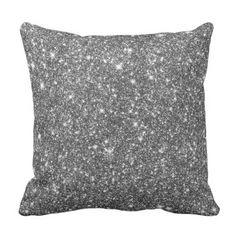 Silver Shining Faux Glitter Pattern Girly Throw Pillow