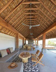 Casa Cal belongs to a coastal community of 8 houses in a coastal area near Puerto Escondido Oaxaca the mexican surf mecca. Casa Cal is a beach house that is Bamboo Architecture, Tropical Architecture, Architecture Design, House Bali, Hut House, Bungalow, Sala Tropical, Bamboo House Design, Balinese Decor