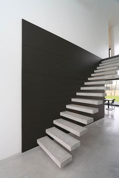 Staircase Handrail, Open Staircase, Staircase Design, Staircases, Building Design, Building A House, Modern Barn House, Escalier Design, Steel Stairs