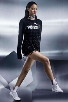 Rihanna wearing Puma by Rihanna Fenty Trainers in White and Fannie Schiavoni Diamond Pattern Acrylic Dress