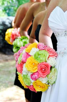 Bright colored flowers. But not the bundles.  Neon Wedding Ideas | Calligraphy by Jennifer