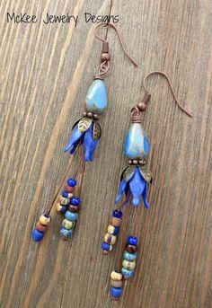 Blue drops. Czech glass, copper and bronze metal earrings.