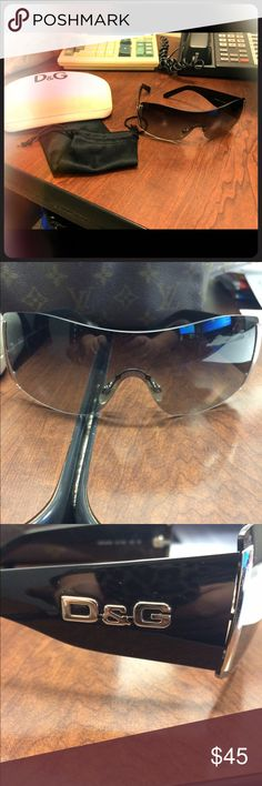 Dolce & Gabbana sunglasses Gorgeous D&G sunglasses. I bought these pre owned sunglasses and loved them but I'm not using them. They are in good shape. Comes with case and cloth bag for the glasses.  I did see a couple of tiny scratches on the lenses but they are hard to show in a picture.  The actual case is dingy and that is how I received it.  I've tried to clean it but it didn't work. Dolce & Gabbana Other
