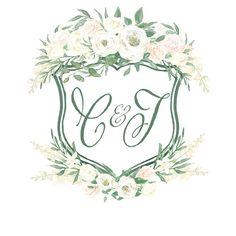 Custom Watercolor Crest Heraldry Monogram Wedding Crest