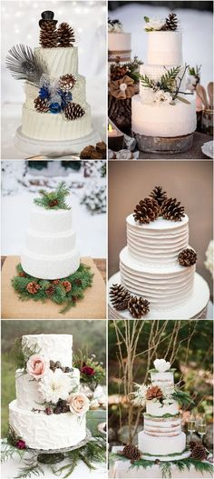 Use pinecones at your wedding cakes so beautiful