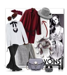 """""""Yoins Gray Wrap Skirt"""" by wanda-india-acosta ❤ liked on Polyvore featuring Gucci, Lipstick Queen, women's clothing, women, female, woman, misses, juniors and yoins"""