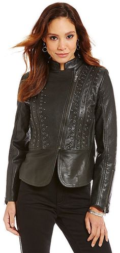 $448, Reba Moto Leather Jacket. Sold by Dillard's. Click for more info: https://lookastic.com/women/shop_items/347744/redirect