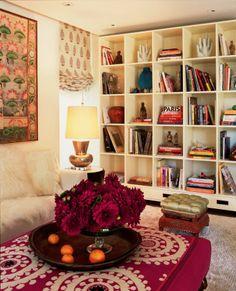 Elegant Bohemian Living Room with White Large Bookshelves Furniture and Red Rose Decor - Bohemian Living Room Design Inspirations