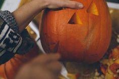 Carving pumpkin lanterns at Halloween