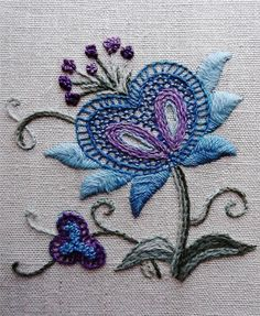 Framed+Jacobean+Floral+Finished+Completed+Kit+Elsa+Williams+Crewel+Embroidery+
