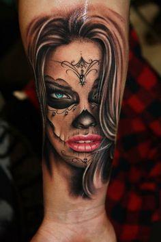 Tattoo-Foto: La Catrina, tätowiert von Tibor Szalai