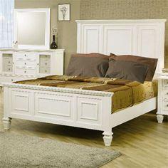 Coaster Furniture 201301KE Sandy Beach Classic King High Headboard Bed in White