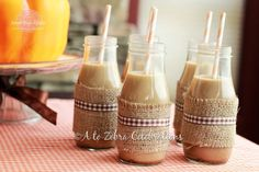 Paper straws from: http://www.etsy.com/shop/cakesandkidstoo. So cute! Fall-theme baby shower. Could do either Starbucks Mochas, or mason jars with chocolate milk.