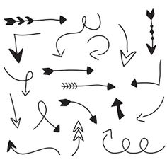 Simple elements like these arrows, really come in handy. Have fun using these on your cards, posts, pictures. Arrow Doodle, Banner Doodle, Cute Arrow, Hand Drawn Arrows, Arrow Drawing, Black And White Stickers, Bullet Journal Notes, Little Doodles, Pretty Notes