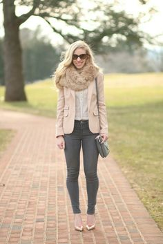 Meagan's Moda - Style for the Seasons Blazer Outfits, Fall Outfits, Scarf Outfits, Work Outfits, Outfit Semi Formal, Rose Gold Pumps, Gold Blazer, Pastel Outfit, Professional Dresses