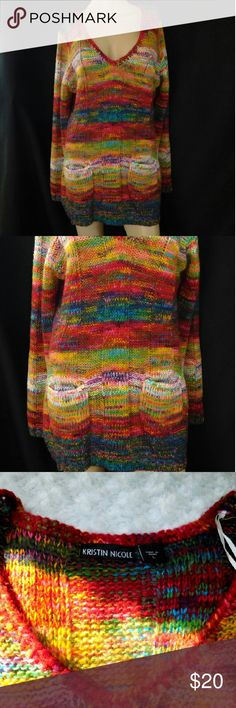 Kristen Nicole Varigated Long Boyfriend Sweater 100% Acrylic.  Size Large. Front Pockets. Boyfriend style. Multicolored. V-Neck. On sleeves. Preowned but in great condition.  No snags. Kristen Nicole Sweaters V-Necks