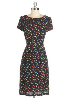 Fashionable Fun Dress. This black sheath certainly is a joy to wear - dots for sure! #multi #modcloth