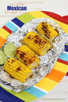 This Slow Cooker Mexican Street Corn is deliciously simple, cooked in the slow cooker, and seasoned with spices and lime juice! You will never go back to your old way of cooking corn. Slow Cooker Mexican Street Corn- Slow Cooker - Eazy Peazy Mealz