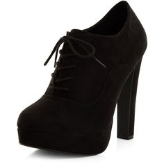 New Look Black Suedette Lace Up Shoe Boots (94 BRL) ❤ liked on Polyvore featuring shoes, boots, ankle booties, heels, black, ankle boots, high heel ankle boots, laced up ankle boots, lace-up bootie and black booties