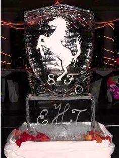 Horse Pendant and Monogram at Wedding | Full Spectrum Ice Sculptures