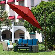 The Abba Patio 11′ Offset Cantilever Umbrella is the largest umbrella on our list, and also the most expensive. It is also an awesome umbrella. It comes in two color variations: tan and red, which is not ideal, but is fine for most needs. It also includes an umbrella cover, so there no need to purchase an additional protective cover with this one. This 11 ft offset umbrella is ideal for large tables and patio sets. When open, it can be a very striking piece. Best Patio Umbrella, Patio Umbrella Stand, Outdoor Umbrella, Patio Umbrellas, Offset Umbrella, Large Umbrella, Umbrella Cover, Large Backyard Landscaping, Patio Pergola
