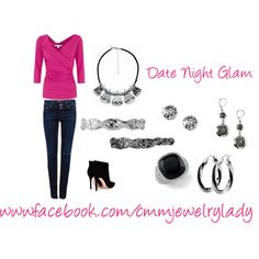 """Date Night Glam"" by cmmontg on Polyvore  Contact me to get all 7 pieces for $185! Offer ends February 23!   Lure Me In (#12780, $98) Forged (#22242, $24) Sync (silver #12780, $38) Sync (hematite #12781, $38) Molecule (#23821, $38) Karin's Adventure (#64615, $88) Twist & Shout (#22889, $30)"