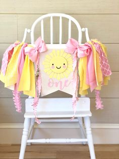 Baby girl birthday party ideas decoration high chairs Ideas for 2019 Sunshine Birthday Cakes, Baby First Birthday Cake, 1st Birthday Themes, First Birthday Banners, 1st Birthday Girls, First Birthday Parties, Birthday Ideas, First Birthday Decorations Girl, Sunshine Cupcakes