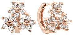 EVA 14K Gold Post Cubic Zircornia Mini Flower Huggie Hoop Earrings Rose Gold Plating