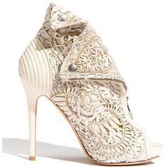 To know more about Alexander McQueen laser Cut Bootie, visit Sumally, a social network that gathers together all the wanted things in the world! Featuring over other Alexander McQueen items too! Bootie Boots, Shoe Boots, Shoes Heels, Lace Heels, Ankle Booties, Crazy Shoes, Me Too Shoes, Mode Shoes, Louboutin