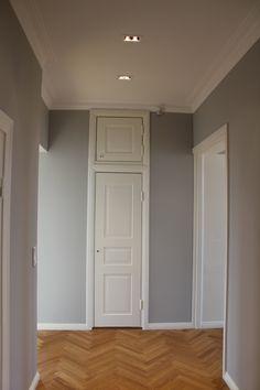 Hallway, oak floor. Farrow & Ball wall colour.