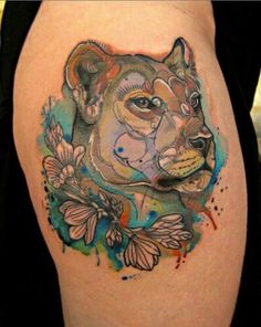 Lion tattoo with flowers. | Tats! | Pinterest | Lions ...