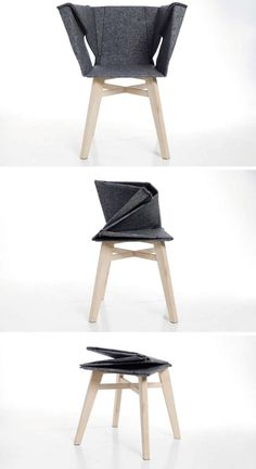 A folded chair that became a stool: 12002198 Pixel, Design Meubel, 1 200 2 198 Pixel, Foldable Chairs, Design Mobili, Artemis, Folding Chairs, Origami Design Furniture, Design Studios
