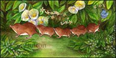 Caravanming Shrews (watercolour) by Alison Mutton | www-alene-art.com