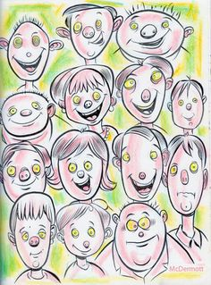 Cartoon: Cartoon Faces (medium) by Cartoons and Illustrations by Jim McDermott tagged faces,sketchbook