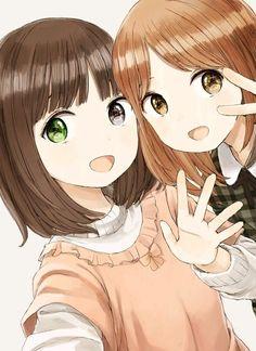 Anime, anime art и manga. Kawaii Anime Girl, Anime Art Girl, Manga Girl, Anime Girls, Anime Best Friends, Friend Anime, Art Friend, Anime Style, Chibi