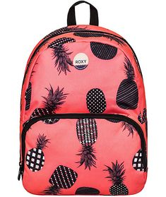 Perfect for day trips and adventures comes the Always Core mini backpack from Roxy. This mini backpack is made with a small compact size that makes it perfect for daily use, and comes in a grapefruit pink colorway with a contrasting black pineapple print