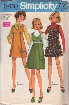 MOMSPatterns Vintage Sewing Patterns - Simplicity 8410 Vintage 60's Sewing Pattern DARLING Mod Short or Mini Wrap Around Double Breasted Jumper, Dress