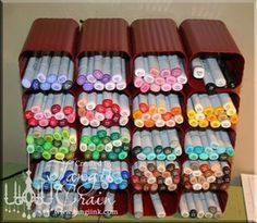 i know someone at work who TOTALLY needs these for all of her markers!!!!Craft Storage Ideas: Drain Spout Pen Organizer