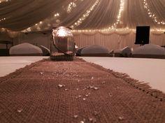 Halfway House, Shipley, West Yorkshire, marquee Venue, Wedding Venue, Hessian, Candles, Crystals