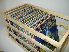 "Wooden Vinyl Record LP Storage Crate 18"""