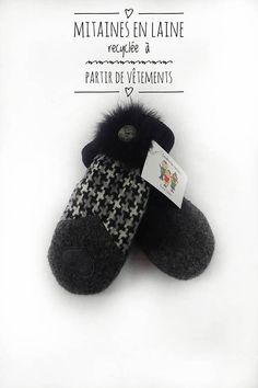 Mitaines en laine recyclée pour femme Fur Slides, Etsy Seller, Slippers, Canada, Sandals, Crafts, Wool, Leather, Fingerless Gloves