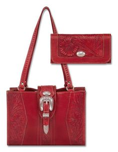 """$144.00--Rodeo-Ranch-Tote-&-Wallet-Set... Make a bold fashion statement with this Rodeo Ranch Structured Tote made of hand-tooled Ruby Leather. Each Rodeo Ranch Tote features three compartments and is completely hand-fashioned one at a time by members of the Guarani Indian Tribe in Paraguay. (11"""" x 8"""" x 5"""") Rodeo Ranch Ladies Wallet - Matching tri-fold Ladies Wallet composed of rich, hand-tooled Ruby Leather. (7 1/2"""" x 4"""")0"""