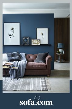 Family Room Colors, Room Wall Colors, Living Room Decor Colors, Living Room Color Schemes, Living Room Designs, Colour Schemes, Teal Grey Living Room, Brown Leather Couch Living Room, Brown Sofa