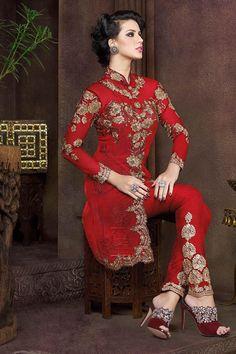 Red Silk Embroidered Salwar Kameez-4805A